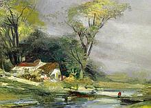 Oil on canvas John Fogel pastoral scene.