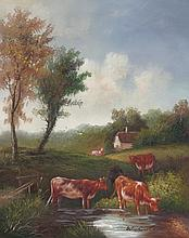 8 x 10 Oil on Board Depiciting Cow & Pasture Scene