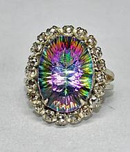 Stunning Mystic Topaz & Rose Cut Diamond Ring