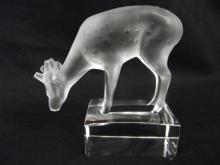 Authentic Lalique France Frosted Deer Figurine