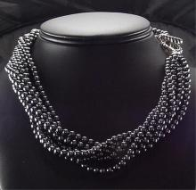 Tiffany & Co. Sterling Hematite Torsade Necklace