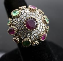 LARGE! Ruby & Topaz Sterling Silver Statement Ring