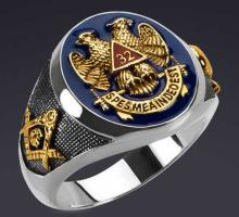 Masonic Ring, Sterling Silver 24K Gold Plated.