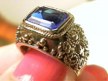 Vintage Sapphire Solitaire & Sterling Silver Ring