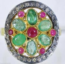 Victorian Rose Cut Diamond, Emerald & Ruby Ring