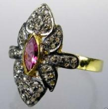 Victorian Rose Cut Diamond & Ruby Sterling Ring