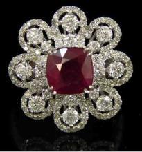 14K White Gold Burmese Ruby & Diamonds Dinner Ring