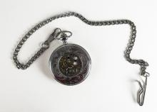 Elaborate Case Stainless Steel Pocket Watch