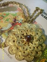 Persian Bohemian Carnelian Stone Pendant Necklace