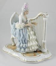 Large Vintage Dresden Sandizell Lady Playing Harp