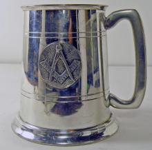 Vintage Masonic Sheffield English Pewter Tankard