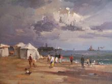 English Impressionist Beach, Seascape Oil Painting