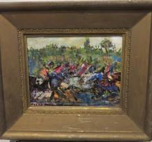 Signed Pascal Cucaro Oil Paining, At The Races