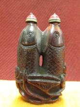Chinese Qing Ox-Horn Double Fish Snuff Bottle