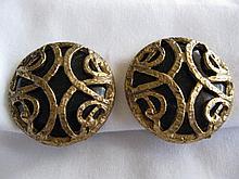 Neiman Marcus Black Lucite & Goldtone Earrings