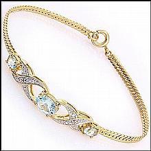 3.89 CT Blue Topaz & Diamond 18KGP Bracelet