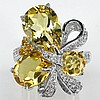 Citrine and Natural White Topaz Ring
