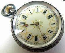 19thc Ladies Swiss Silver Pocket Watch