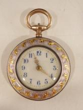 Sterling Guilloche Enamel Ladies Pocket Watch