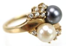 Vintage Black & White Pearl & Diamond 14kt Ring