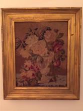 19thc Victorian Framed Floral Needlepoint