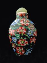 Chinese Qianlong Porcelain Floral Snuff Bottle