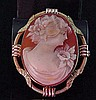 Vintage Hand Carved Cameo Brooch Pendant