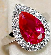 Fine 2.5 ct. Pear Cut Ruby & White Topaz Ring
