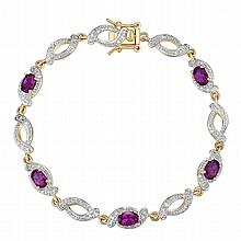 Amethyst Bracelet in Yellow Gold over Sterling
