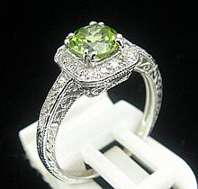Olive Green Peridot, Diamond Art Deco-Style Ring
