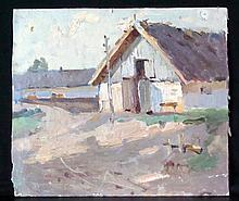 Russian Social Realism Oil Painting of House.