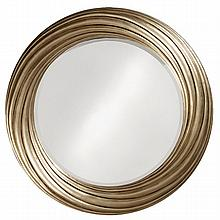 Round Mirror with Brushed Silver Frame.