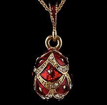 Red Enameled Faberge Inspired Egg Pendant