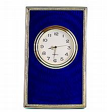 Blue Enameled Guilloche Faberge Clock