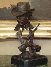 Stately Bronze Bust Sculpture Wyatt Earp