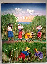 Haitian Painting on Canvas Signed Hillio