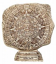 Hand carved Fish bone Aztec Calendar