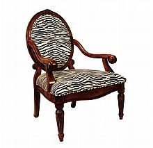 Empire-Style Armchair with Tiger Fabic