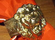 Art Nouveau Brass Lion Head Cuff Bracelet