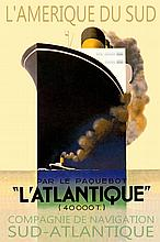 L'ATLANTIQUE French Ocean Liner Retro Ship Poster