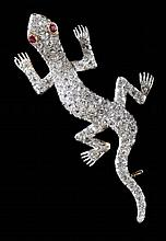 Vintage Diamond Salamander Brooch