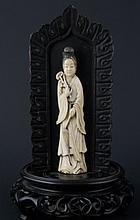 Ivory Carving of Guan Yin on handcarved wood stand