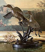Two Flying Ducks Bronze Sculpture