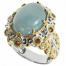 Designer Aquamarine & Chocolate Crystal Ring