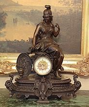 Magnificent Bronze Britannia Goddess Mantel Clock