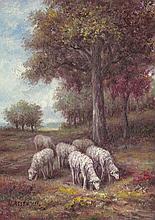5x7 Oil on Board Depiciting Sheep Pasture Scene, S