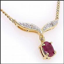Ruby, Diamond Drop Necklace