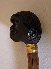 Brigg Walking Cane w/ Carved Wooden Monkey Finial