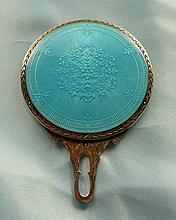 Art Deco Sterling Silver, Enamel Pocket Mirror