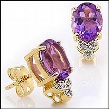 Purple Amethyst, Diamond Earrings